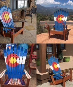 Set of 4 Colorado Flag Adirondack Ski Chairs
