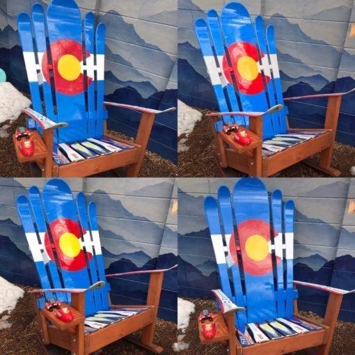 Set of 4 - Hybrid Ski & Snowboard Colorado Flag Adirondack Rocking Chairs