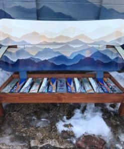 Hand painted Custom Mountain Mural Snowboard Bench
