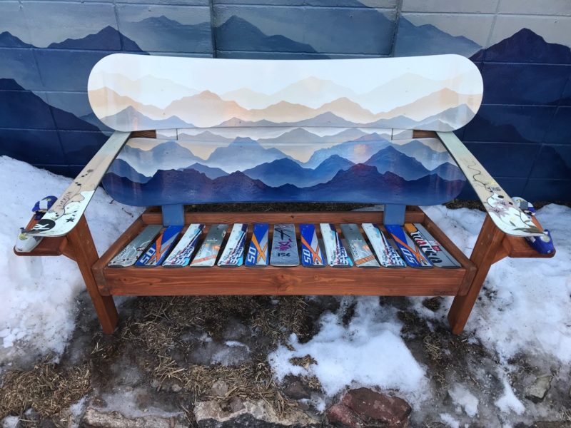 Hand Painted Custom Mountain Mural, Hand Painted Outdoor Benches