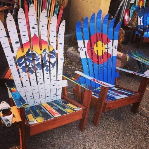 Aspen Sunset Mural & Colorado Compass Flag Adriondack Ski Chair Set