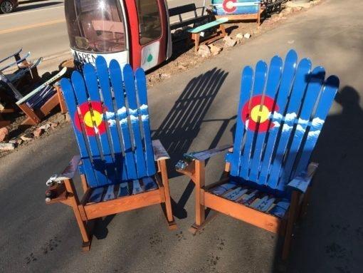 Set of 2 - Colorado Flag Mountain Stripe Adirondack Ski Rocking Chairs
