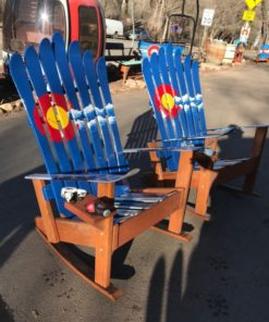 Set of 2 - Colorado Flag Mountain Stripe Adirondack Ski Rocking Chairs