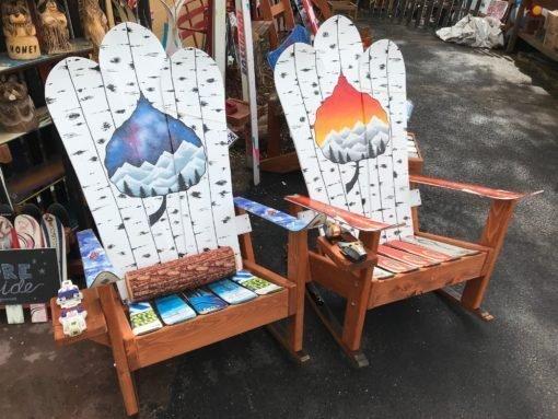 Aspen Leaf Colorado Flag Mural Sunset Adirondack Snowboard Chair