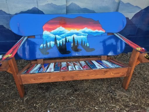 Colorado Bear Mural Adirondack Snowboard Bench