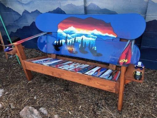 Colorado Bear Mural Adirondack Snowboard Bench