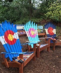 Set of 3 - Colorful Colorado Flag Adirondack Ski Chairs