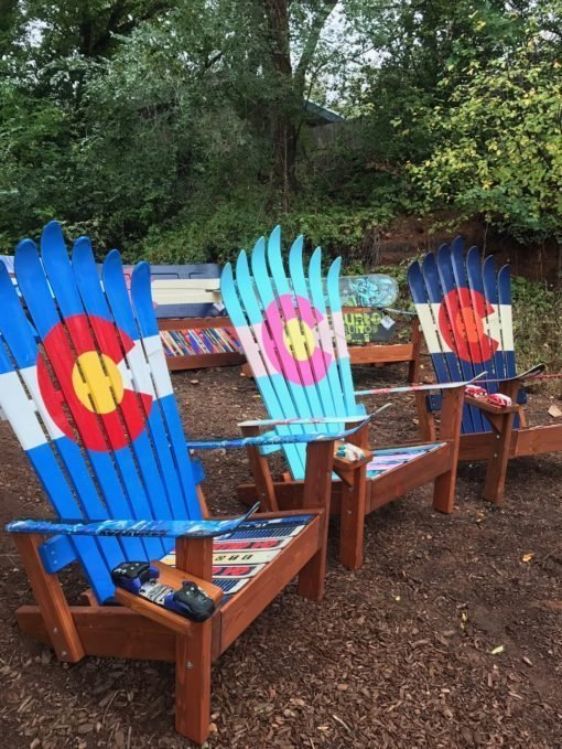 Set of 3 - Colorful Colorado Flag Adirondack Ski Chairs