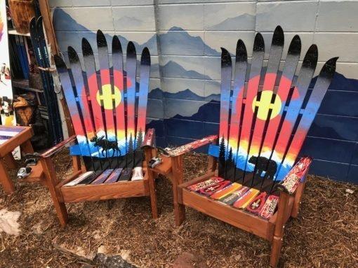 Rocky Mountain Sunset Moose Adirondack Ski Chair Set