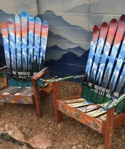 The Mountains are Calling Mural Ski Chairs