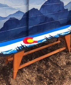 Colorado Mountain Mural Single Snowboard Bench/ Coffee Table