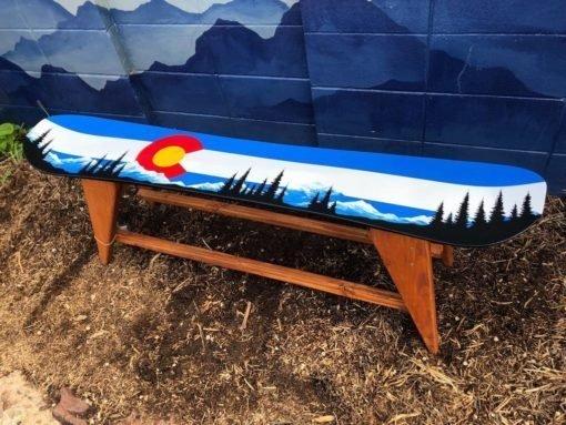 Colorado Mountain Mural Single Snowboard Bench/ Coffee Table