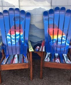 Set of (2) - Dog Sunset Mountain Mural - Medium Ski Chairs