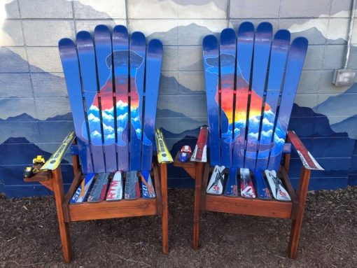 Set of (2) - Dog Sunset Mountain Mural - Medium Ski Chairs