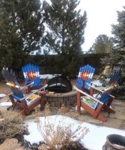 Set of 4 Colorado Flag Adirondack Ski Chairs