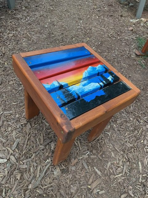 Hand Painted Mountain Forest Side Table
