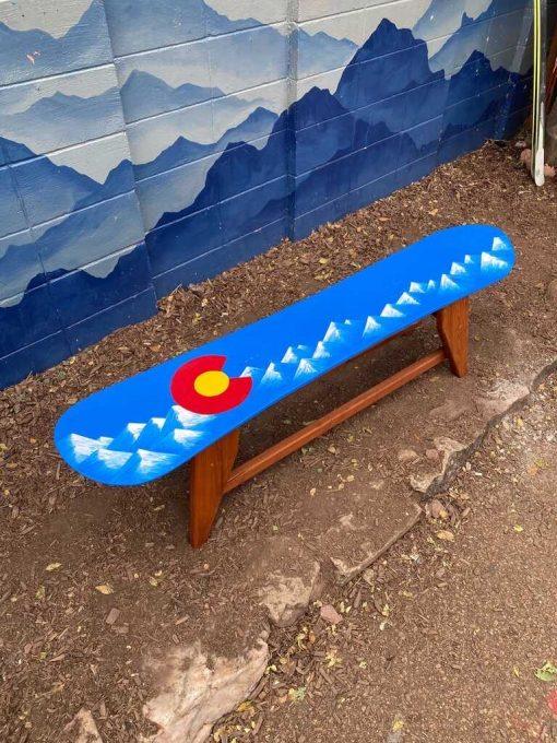 Colorado Flag Snowboard Bench