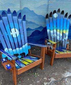Yeti Mountain & Colorado Flag Mountain Adirondack Ski Chairs