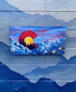 Colorado Flag Mountains Wall Art