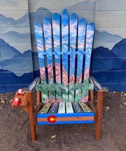 Colorado Flag Red Rock Mountains Ski Chair