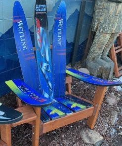 Blue Adirondack water ski chairs