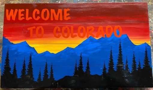 Hand Painted Welcome To Colorado Wall Art