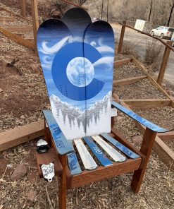 Swirly snow Colorado Adirondack snowboard chair