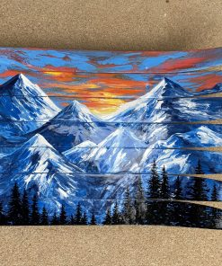 Hand Painted Mountain Mural Wall Art