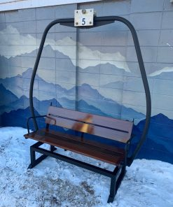 Brown Ski Lift Bench