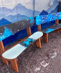 Blue Snowboard Bench's