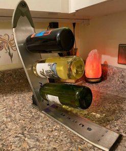 Metal ski wine rack