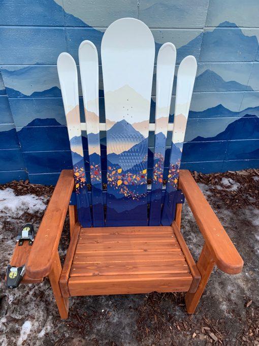 Mountain Mural Blue hybrid Adirondack Ski/Snowboard Chair