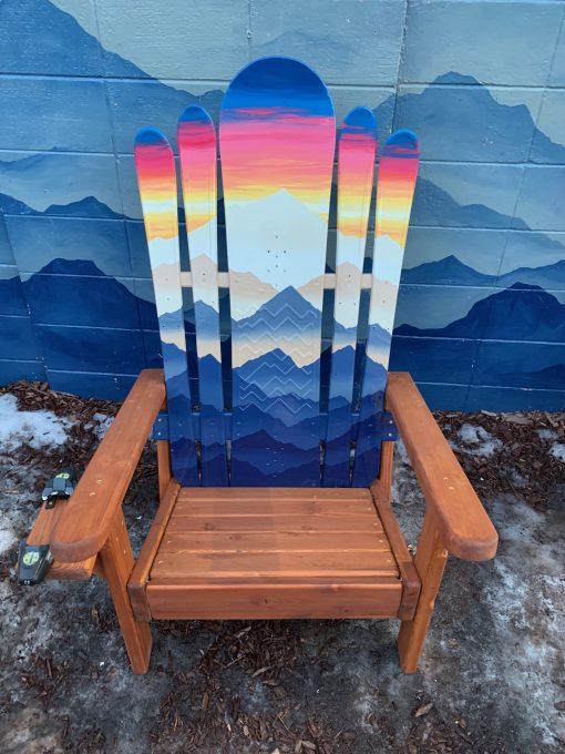 Mystic mountain sunset hybrid Adirondack snowboard chair