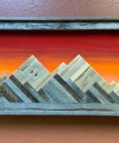 Framed wooden mountain wallart