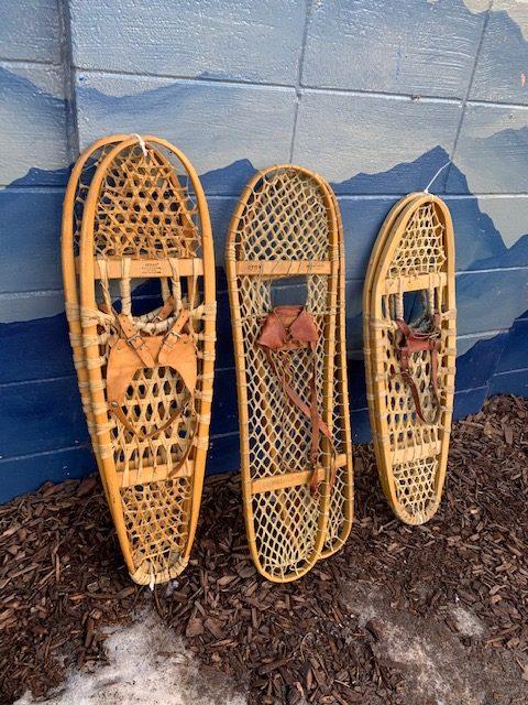 Wooden decorative snow shoes