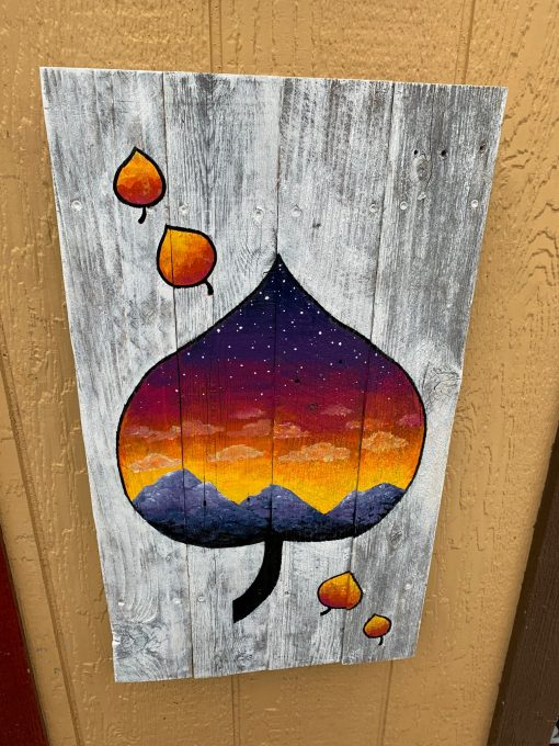 Aspen leaf wooden wall art