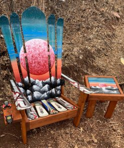 Red moon Adirondack ski/snowboard chair and side table