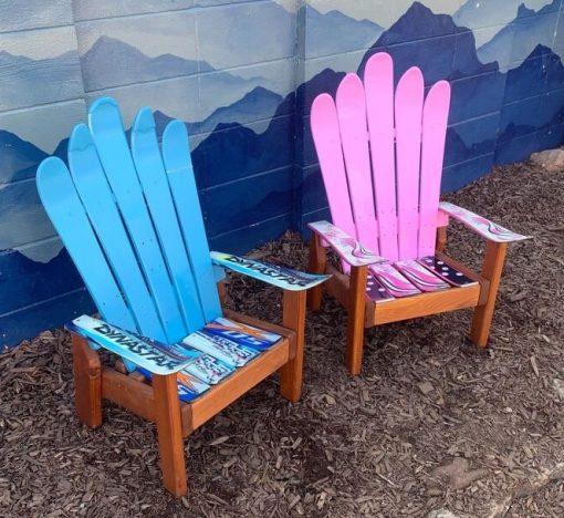 Blue and pink children's Adirondack ski chairs