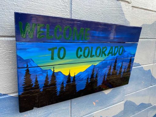 Welcome to Colorado hand painted wall art