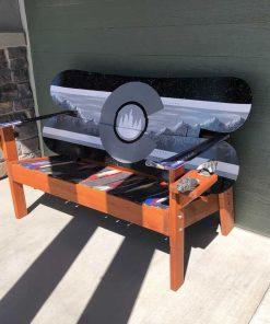 Black/grey outdoor snowboard bench