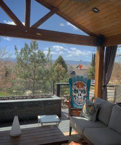 Blue Sugar skull Adirondack ski chair