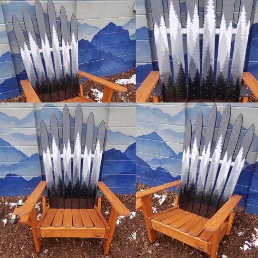 Mystic forest monochromatic ski chairs