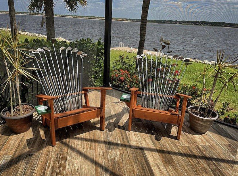 Repurposed gold club chair
