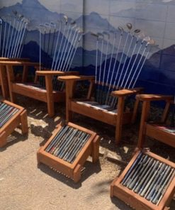 Set of Adirondack golf club chairs and ottomans