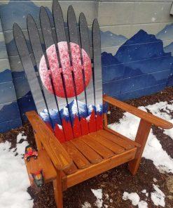 Red sun Adirondack ski chair