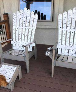 Birch painted Adirondack ski chairs and ottoman