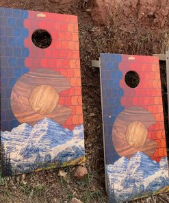 Wooden Colorado mountain cornhole game