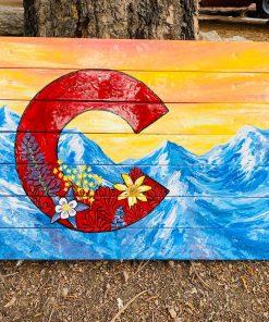 Colorado mountain sunset ski wall art