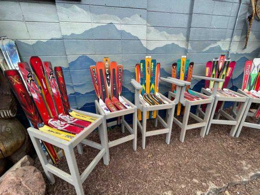 Set of Adirondack ski bar stools