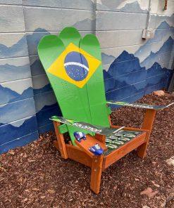 Brazil flag Adirondack snowboard chair